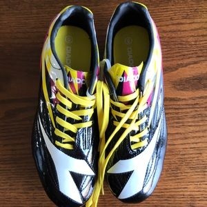 Diadora black/pink/yellow soccer spikes NWOT
